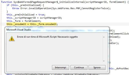 Microsoft JavaScript: Necessario oggetto